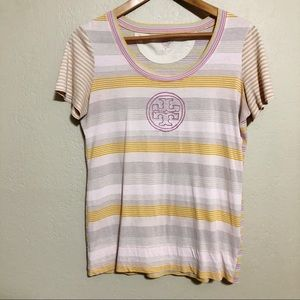 Tory Burch Striped Logo Short Sleeve Tee
